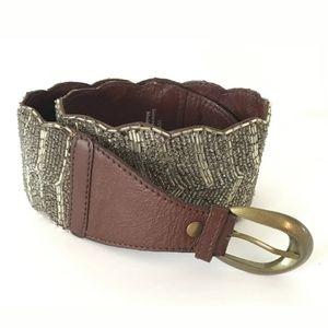 Anthro Jasper & Jeera Beaded Leather Wink Belt Sm